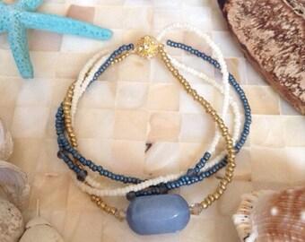 Swarovski crystal bracelet, blue bead bracelet, gold bead bracelet