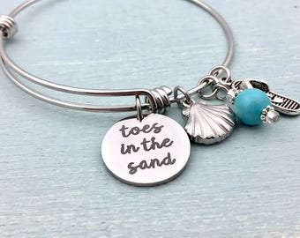 Toes in the Sand Expandable Bangle Bracelet, Charm bracelet, beach, shore, summertime, beach jewelry