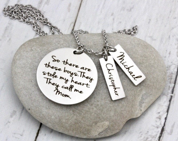 These Boys Stole My Heart Custom Premium Stainless Rose, Gold or Silver Tone Pendant Necklace