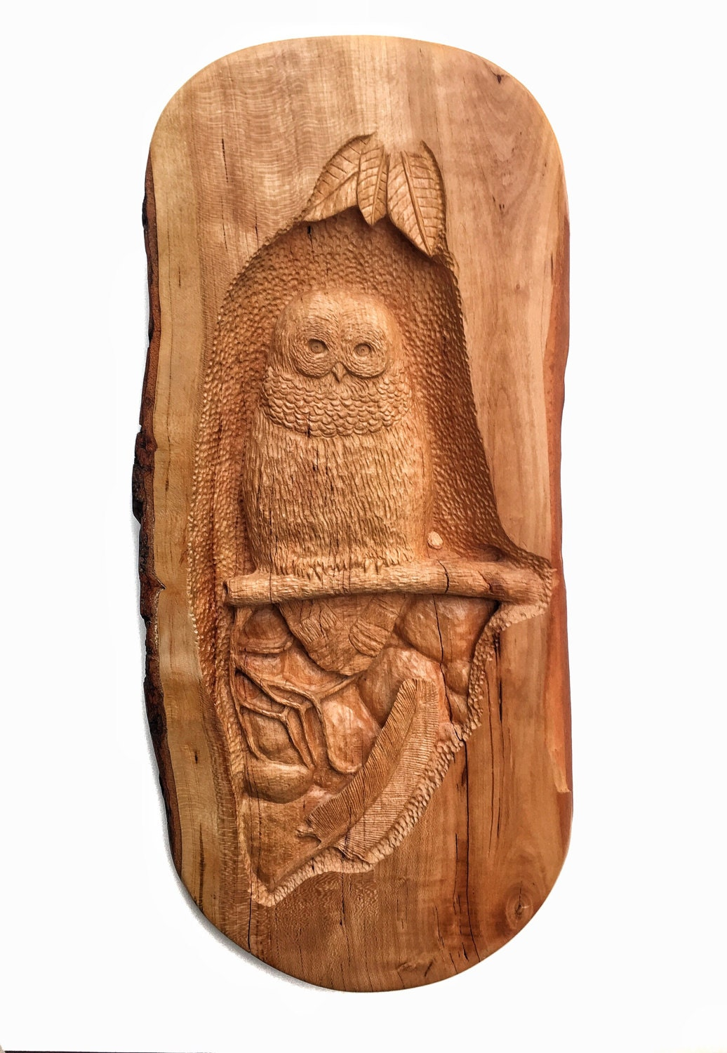 Spring sale owl wood carving cherry hand carved