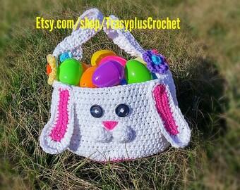 Bunny Basket. Crochet Bunny Basket. Easter Bunny basket. Easter Basket. Crochet Easter Basket. Hand made Bunny Basket.