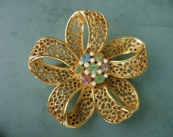 Goldtone Flower Brooch with Pastel Stones