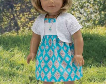 SUNDRESS Dress in Turquoise Blue Print with NECKLACE and SANDALS Option for American Girl or 18 inch Doll