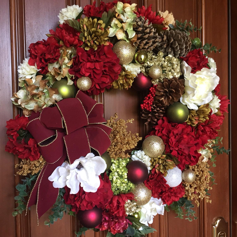 Wreath christmas wreath holiday front door wreath by for Front door xmas wreaths