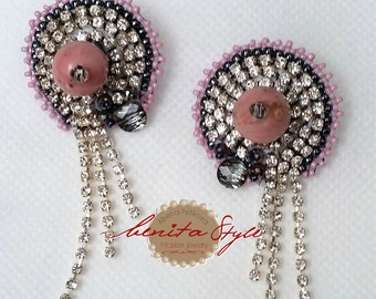 Bead Embroidery Еarrings Rhodonite, Beadwork Embroidery Еarrings, Beaded Еarrings Rhodonite , Bead Jewelry, Еarrings Screw Pink-Grey,