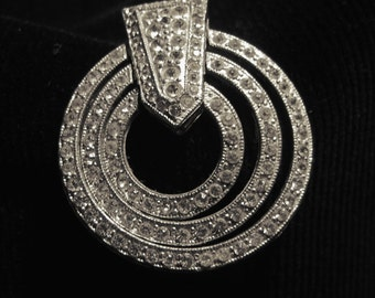 Art Deco 1930s rhinestone circle brooch clip