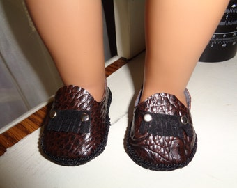 Brown Faux Alligator Shoes for -18 Inch BOY-Doll Shoes-Fits Gotz-Kidz N Cats- American Girl-Boy Dolls