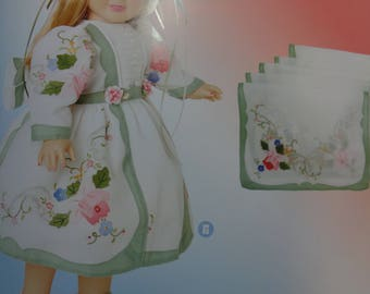 2 Vintage Hand Appliqued Linen- hand-Finger  Guest towel- Tea Towels-Can also use these to make Couture Doll Clothing