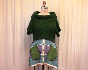 Green women's top Pixie tunic vest Mori girl dress Upcycled clothing Boho Hippie chic Recycled sweaters Hippie urban wear Med- Large