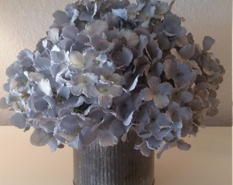 Silk Floral Arrangement Dusty Grayish Blue Hydrangea in Corrugated Metal Container