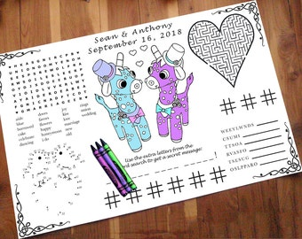 Printable Placemat PDF. Your Names and Date. You Choose Genders. Giraffe Wedding Activity PDF.