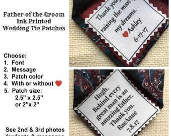 "Ink Printed FATHER OF the GROOM Patch - Choose Message & Font - 2.5"" x 2.5"" or 2"" x 2"" -  Sew on or Iron On, Wedding Tie Patch"