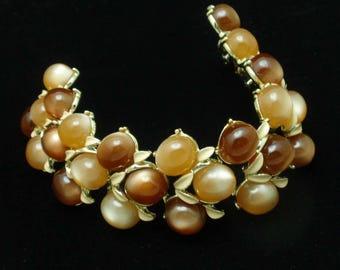 Brown and Tan Moonglow 3-Row Bracelet Vintage