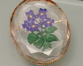 Violets Flowers Brooch Pin Reverse Carved