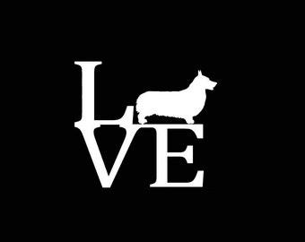 "Pembroke Welsh Corgi Dog LOVE 5.75"" Vinyl Decal Widow Sticker for Car, Truck, Motorcycle, Laptop, Ipad, Window, Wall, ETC"