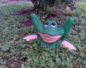 Outdoor garden statue Ceramic Frog google eyed frog gifts for her MADE TO ORDER  garden green frog, green frog, yard ornament, patio decor