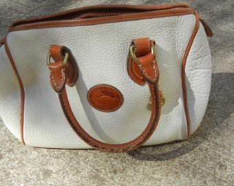 Vintage white and british tan brown Dooney and Bourke all weather leather authentic speedy satchel doctor bag