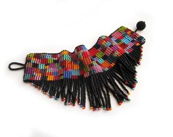 Tufted Multicolor Wide Beadwoven Cuff Bracelet - Unique Handmade Gift - Wearable Art