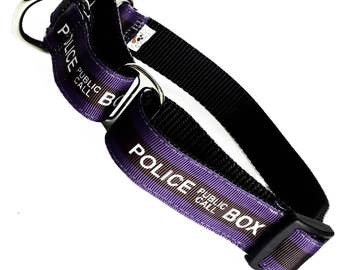 DOCTOR WHO inspired Police Public Call Box adjustable martingale dog collar