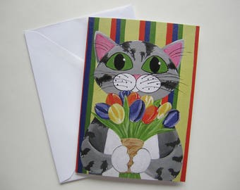 Cat with Tulips Greeting Card, Grey Tabby Cat with Flowers Card, Cat with Flowers Card by Amber Maki