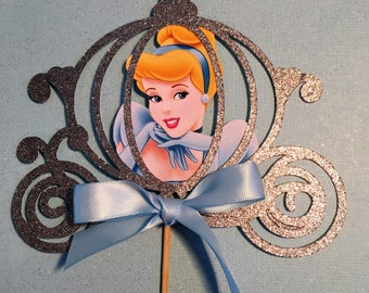 Cinderella Centerpiece sticks, Cinderella cake topper, Princess Cake Topper, Cinderella Decoration,Cinderella Birthday Cake Topper,Carriage