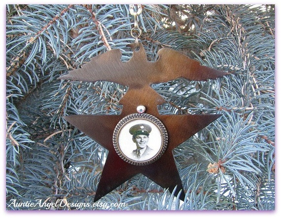 Custom Military Ornament, Serviceman Memorial, Patriotic Photo Gift, Armed Forces Photo Ornament, Loss of Soldier, Custom Portrait Sympathy
