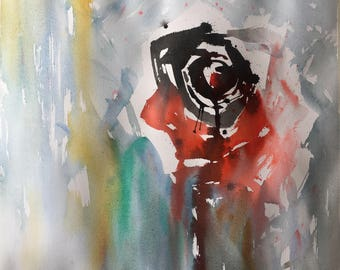 Rose watercolor modern rose painting gift art gift modern wall art deco modern watercolor barcelona design