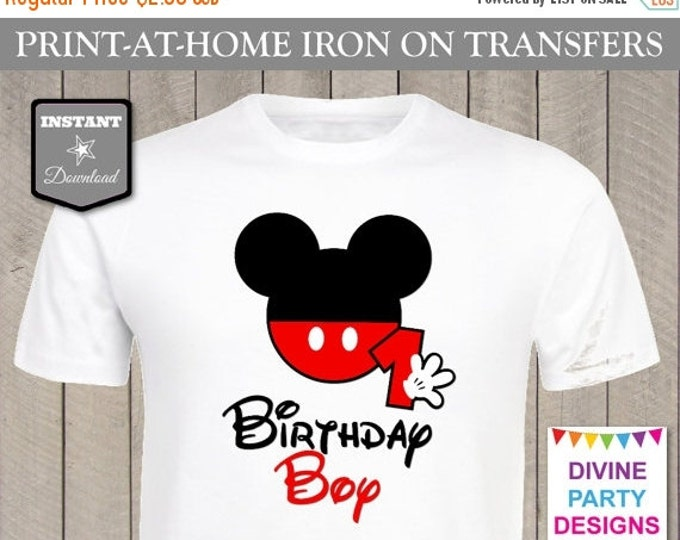SALE INSTANT DOWNLOAD Print at Home Mouse Birthday Boy Age 1 Iron On Transfer / Printable / 1st First One / T-shirt / Party / Trip / Item #2