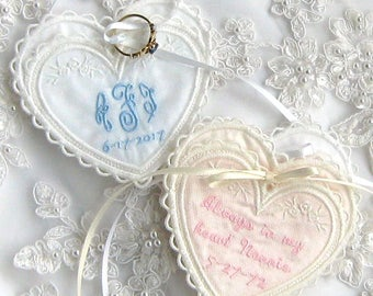 WEDDING MEMORY POCKET, to hold a treasured keepsake in your gown! Sweet Heart Shaped Design, Ribbon Ties for Security, Elegant, Personalized