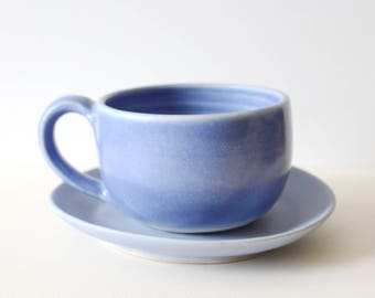 Big ceramic mug and saucer set, coffee, tea, soup / periwinkle blue / ready to ship