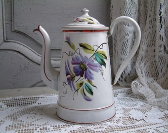 Antique french enamel coffee pot. French hand painted enamel coffee pot. Violet flower. Lavender. Jeanne d'Arc living. French country decor