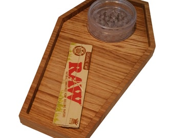 Coffin shaped rolling tray made from Oak.