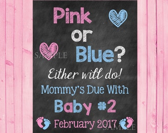 Pink or Blue Big Sister Big Brother Pregnancy Announcement Photo Prop Sign DIGITAL FILE