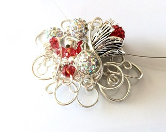 Red Rhinestone Necklace, Flower Necklace, Crystal Necklace, Statement Necklace, Silver Wirework Necklace, Wedding Jewelry, One of a Kind