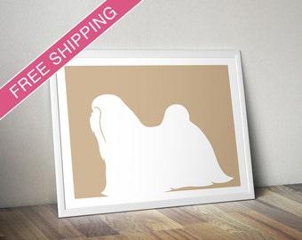 Shih Tzu Print - Shih Tzu Silhouette, shih tzu art, dog portrait, modern dog home decor