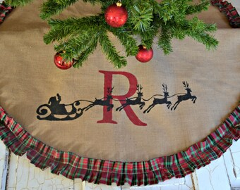CHRISTMAS Tree Skirt, Christmas Plaid, Personalized Tree Skirt, Burlap Christmas  Tree Rustic Christmas