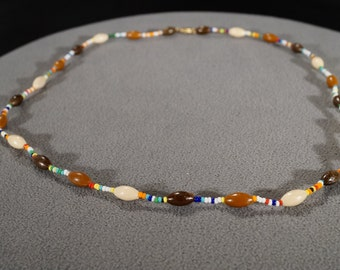 Vintage Art Deco Style Yellow Gold Tone Multi Colored Multi Shaped Beads Necklace Jewelry   KW41
