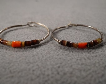 vintage sterling silver hoop earrings strung with coral and agage stones, post and hoop closure   M2
