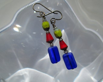Colorful Hypoallergenic Multi Colored and Fun Czech Glass Earrings Unique Czech Sampler Earrings Niobium French Hooks Red Cobalt & Avocado