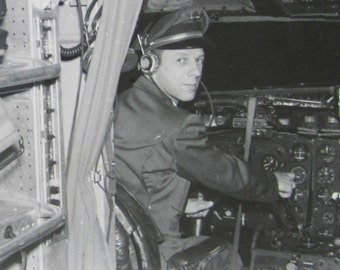 Ready For Take Off - 1950's Capital Airlines Pilot At The Controls Airplane Snapshot Photo - Free Shipping