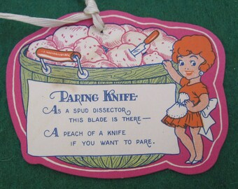 Vintage 1920's Bridal Shower Cartoon Gift Card - Paring Knife - Free Shipping