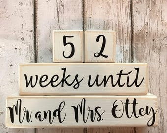 Distressed Wooden 52 Weeks Until Wedding Mr and Mrs Personalized Last Name Countdown Blocks