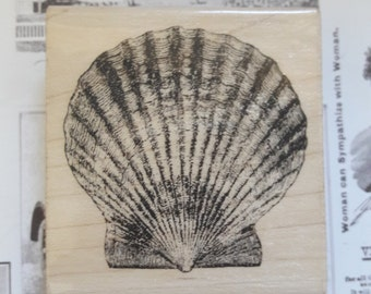 Scallop Clam Seashell Wood Mounted Rubber Stamp Craft Supplies