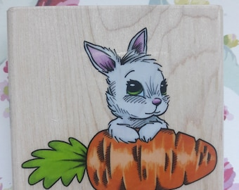 Easter Bunny Rabbit With Carrot Wood Mounted Rubber Stamp Craft Supplies