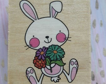 Bunny Rabbit With Flowers Wood Mounted Rubber Stamp Scrapbooking & Paper Craft Supplies