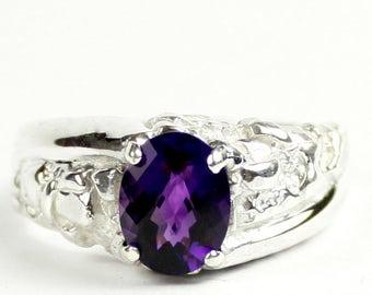 Amethyst, 925 Sterling Silver Men's Ring, SR368