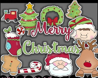 DIGITAL SCRAPBOOKING CLIPART - Christmas Cut It Out