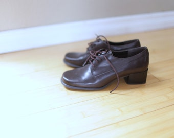 vintage brown leather lace up oxfords heels women's 6 *