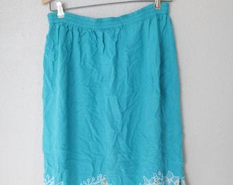 vintage turquoise embroidered island skirt