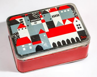 Lovely red tin box with picture of Tallinn Old Town from Soviet era,  craft supplies holder